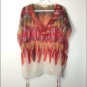 Umgee sheer boho style blouse top orange tones XL